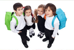 The kids wearing their school uniform